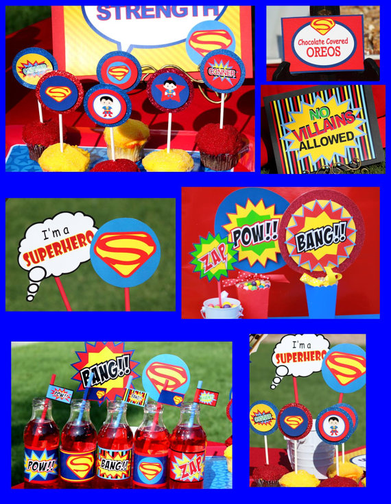 6 Images of Superman Birthday Party Printables