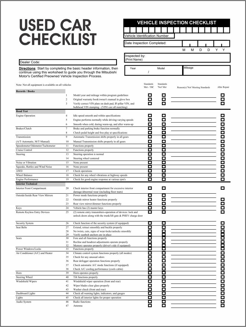 Used Vehicle Inspection Checklist Form