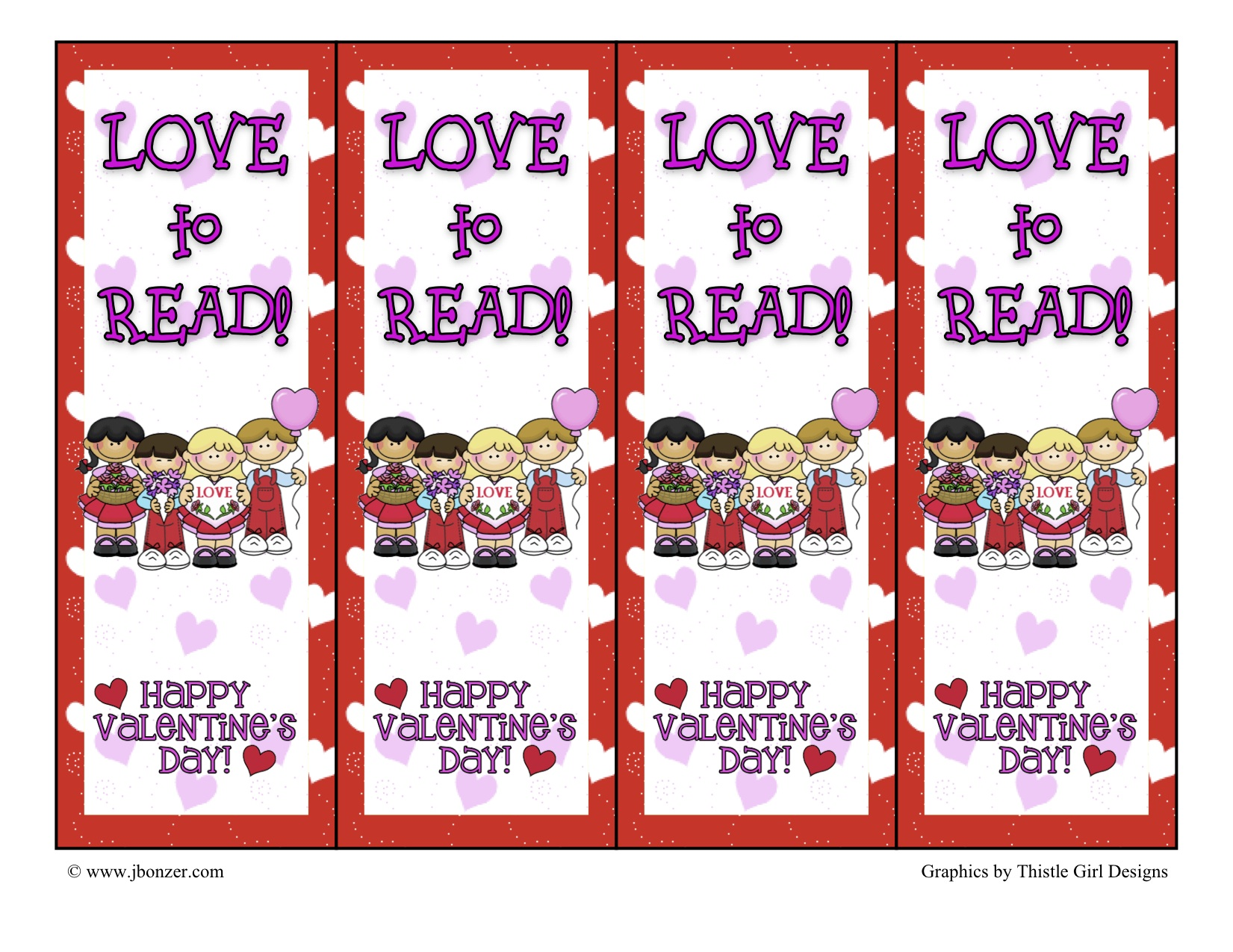 5 Best Images Of Free Printable Valentines Day Bookmarks