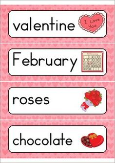 4 Images of Wall Words Valentine Printables