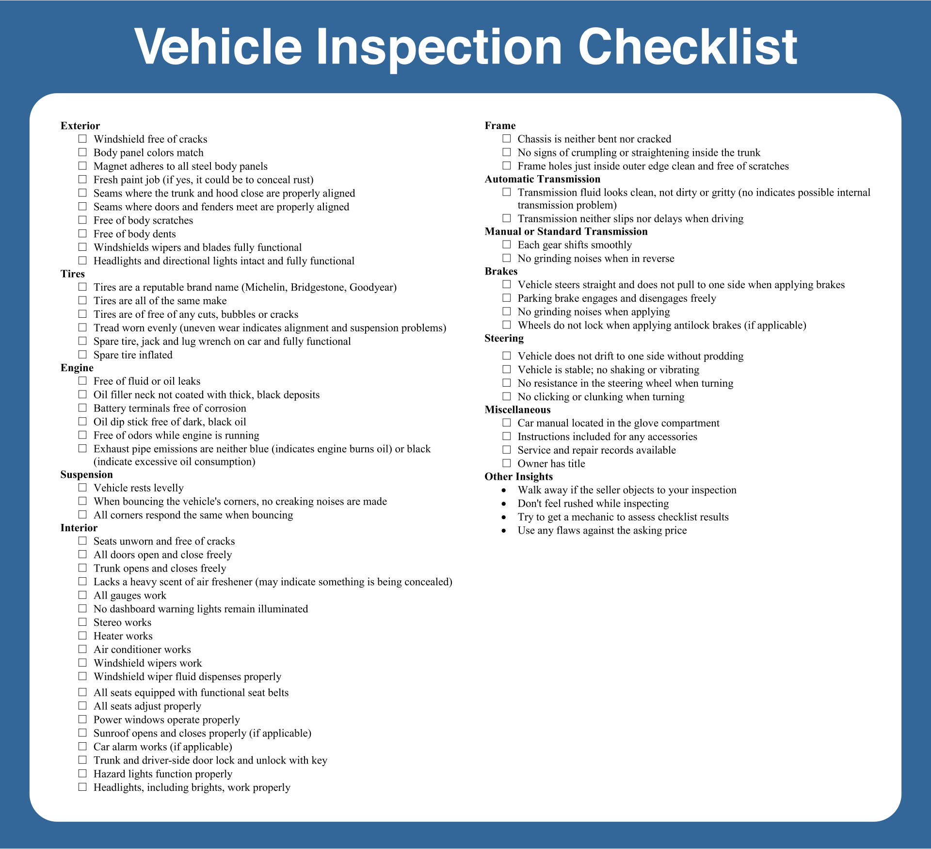 7 best images of printable vehicle inspection checklist for Electro motor services hilo