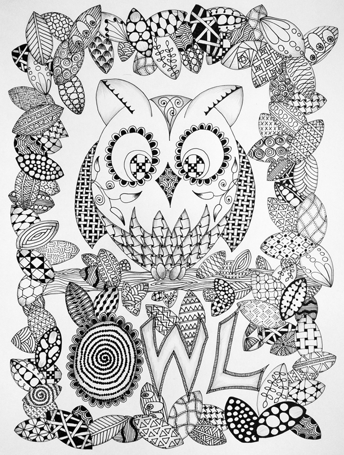 owl abstract coloring pages - photo#12