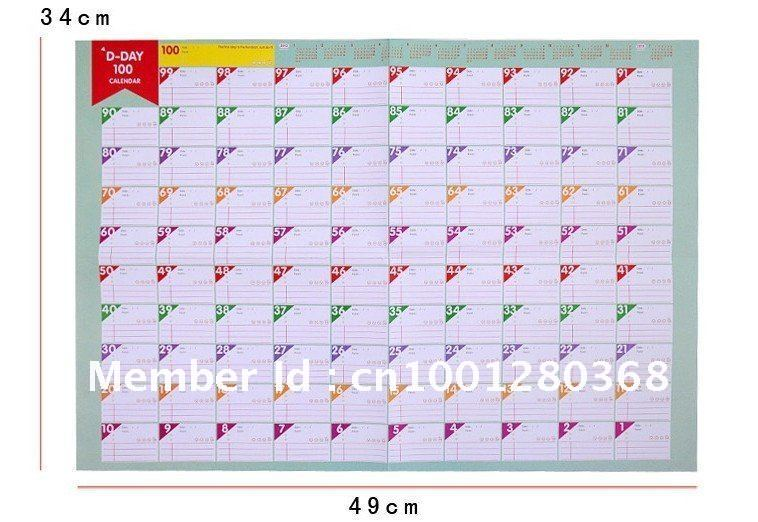 5 best images of 100 day calendar printable free for Countdown chart template