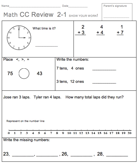 Homework math worksheets