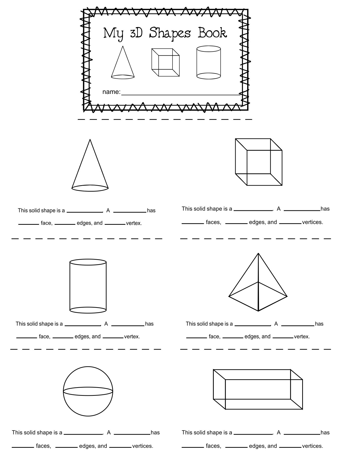 math worksheet : 5 best images of printable 3d shapes kindergarten  3d shapes  : 3d Shapes Kindergarten Worksheets