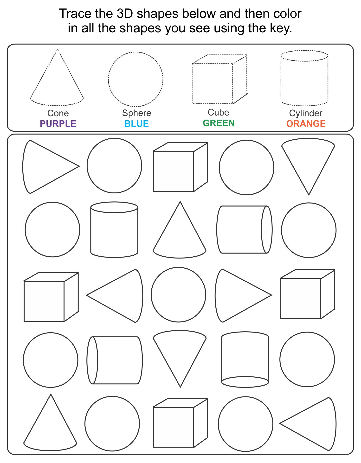 5 Images of Printable 3D Shapes Kindergarten