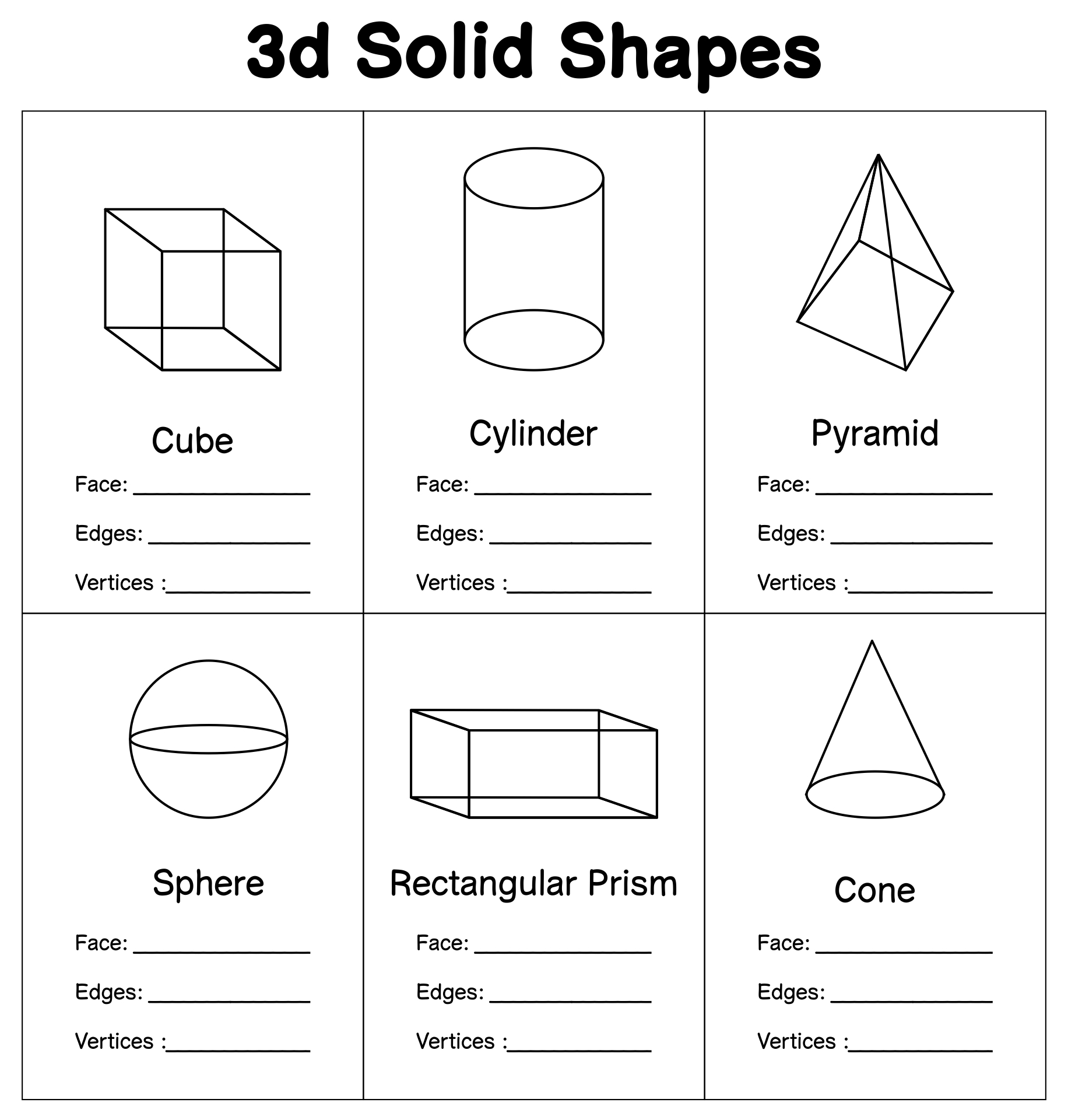 D Solid Figures Shapes on make math fun with printable worksheets making