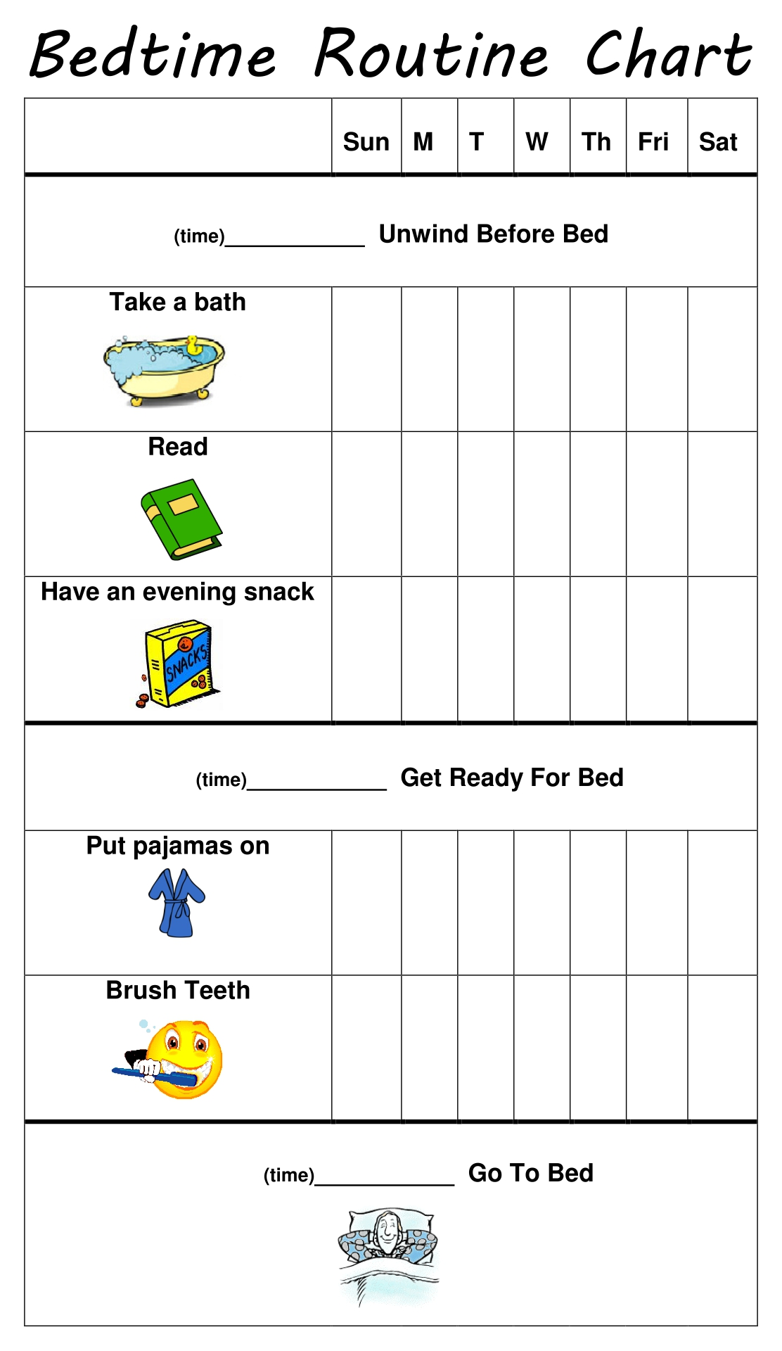 9 Images of Kids Bedtime Routine Chart Printable