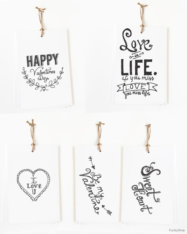 6 Images of Black And White Printable Valentine Cards