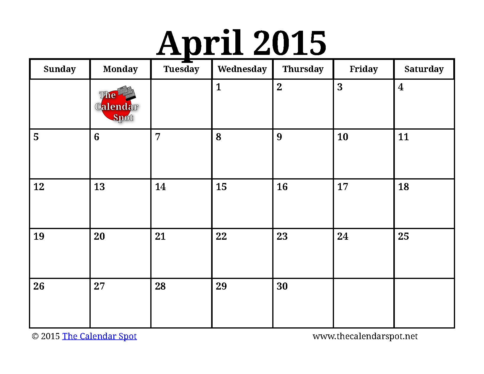 April 2015 Calendar 5 best images of april 2015 calendar printable ...