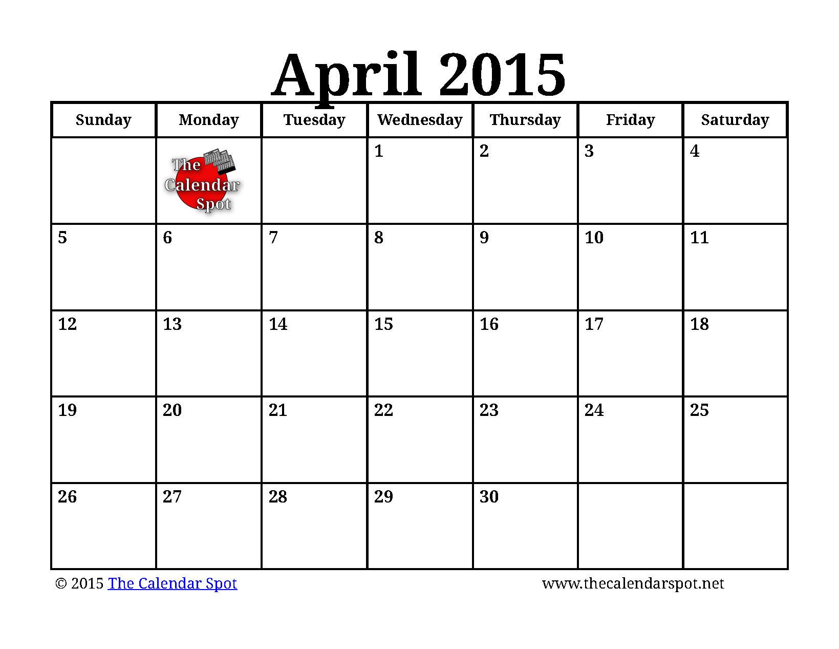 April 2015 Calendar 5 best images of april 2015 calendar printable ...