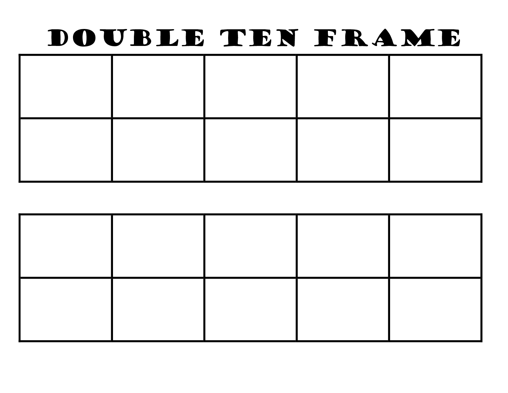 6 Images of Printable Double Ten Frame Cards