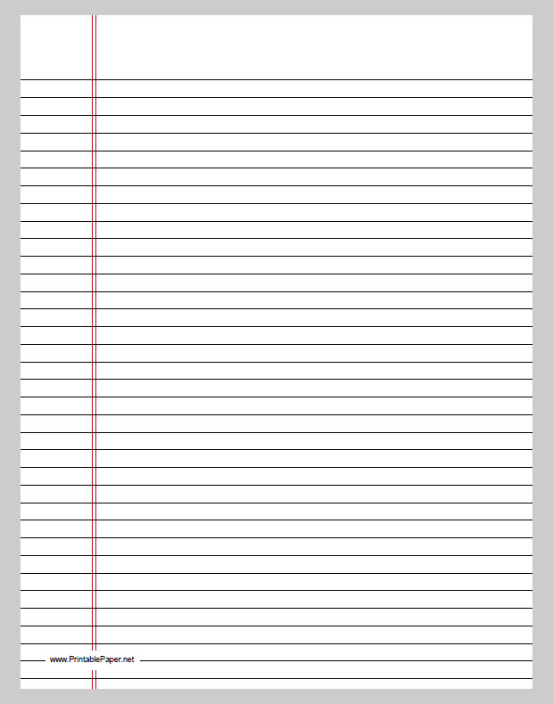 printable lined paper college ruled Ruled paper (or lined paper) is writing paper printed with lines as a guide for  handwriting  medium ruled (or college ruled) paper has 9⁄32 in (71 mm)  spacing between horizontal lines, with a vertical margin drawn about 1 1⁄4   print/export.