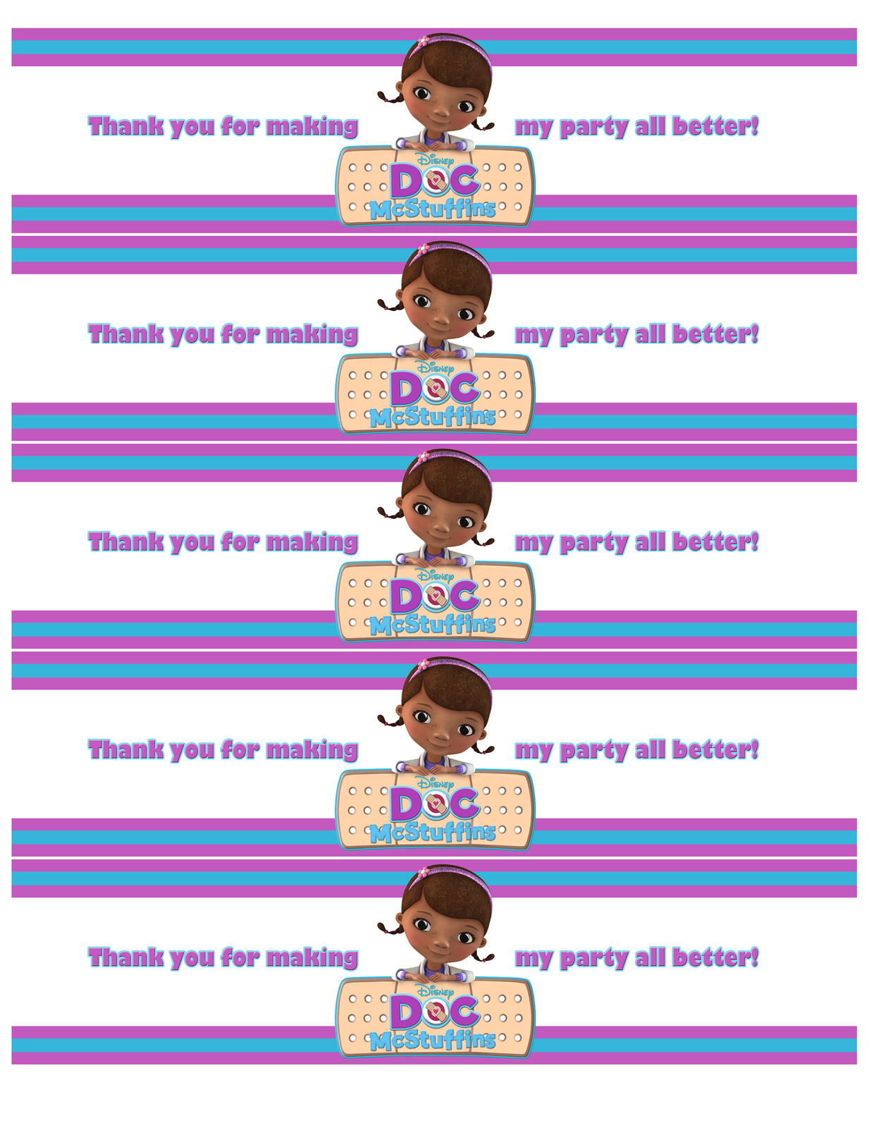 9 Images of Doc McStuffins Water Bottle Labels Printable