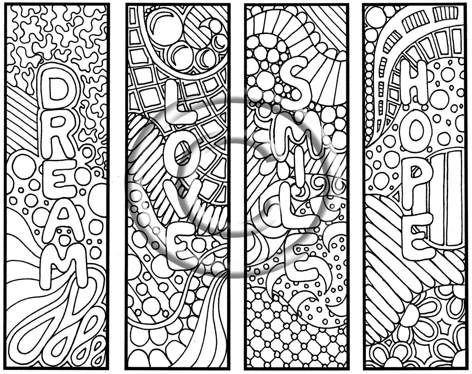 5 Images of Printable Doodle Coloring Pages Bookmarks
