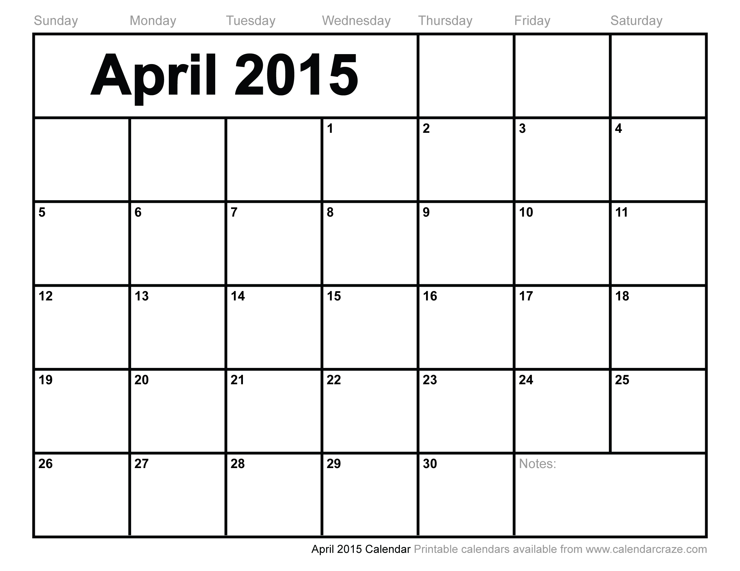 5 Images of April 2015 Calendar Printable
