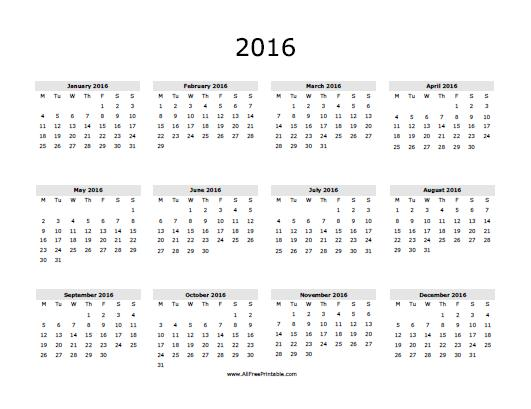 10 Images of Free Printable Year Calendar 2016