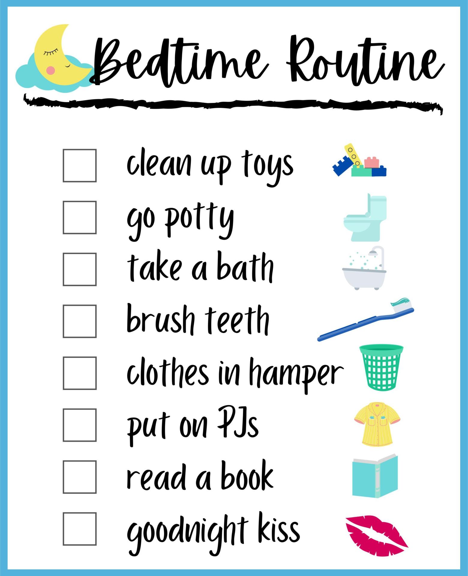 Printable Bedtime Routine Chart