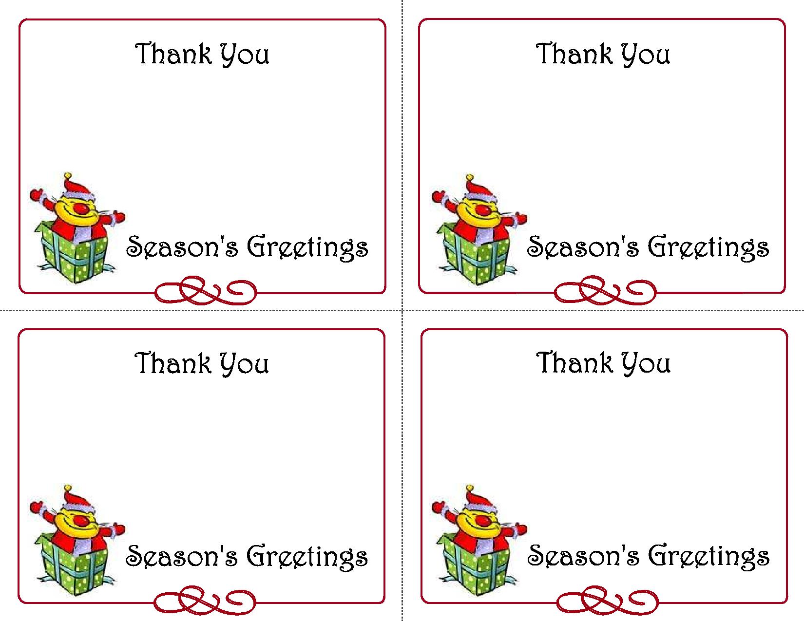 Free Printable Christmas Thank You Card Templates