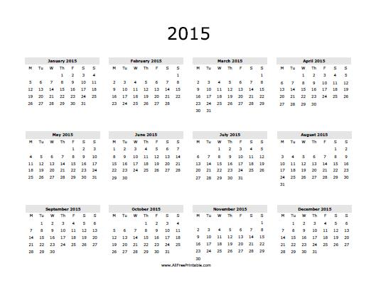 4 Images of Free Printable 2015 Calendar- Year
