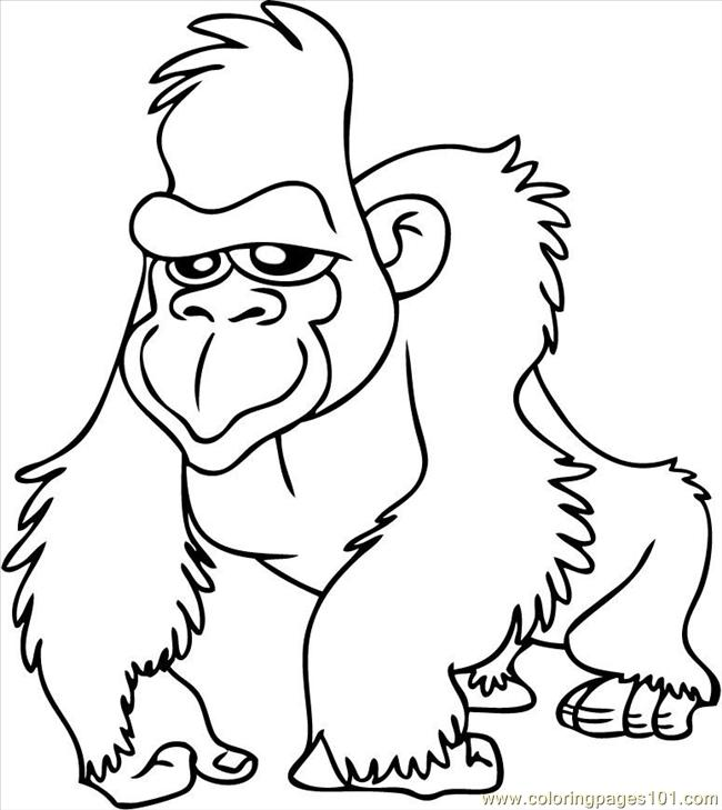 6 Images of Free Printable Gorilla Coloring Sheets