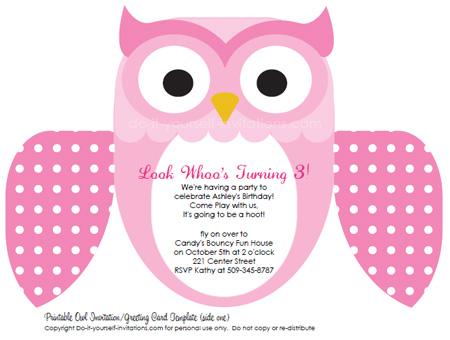 Free Printable Owl Birthday Invitation Template