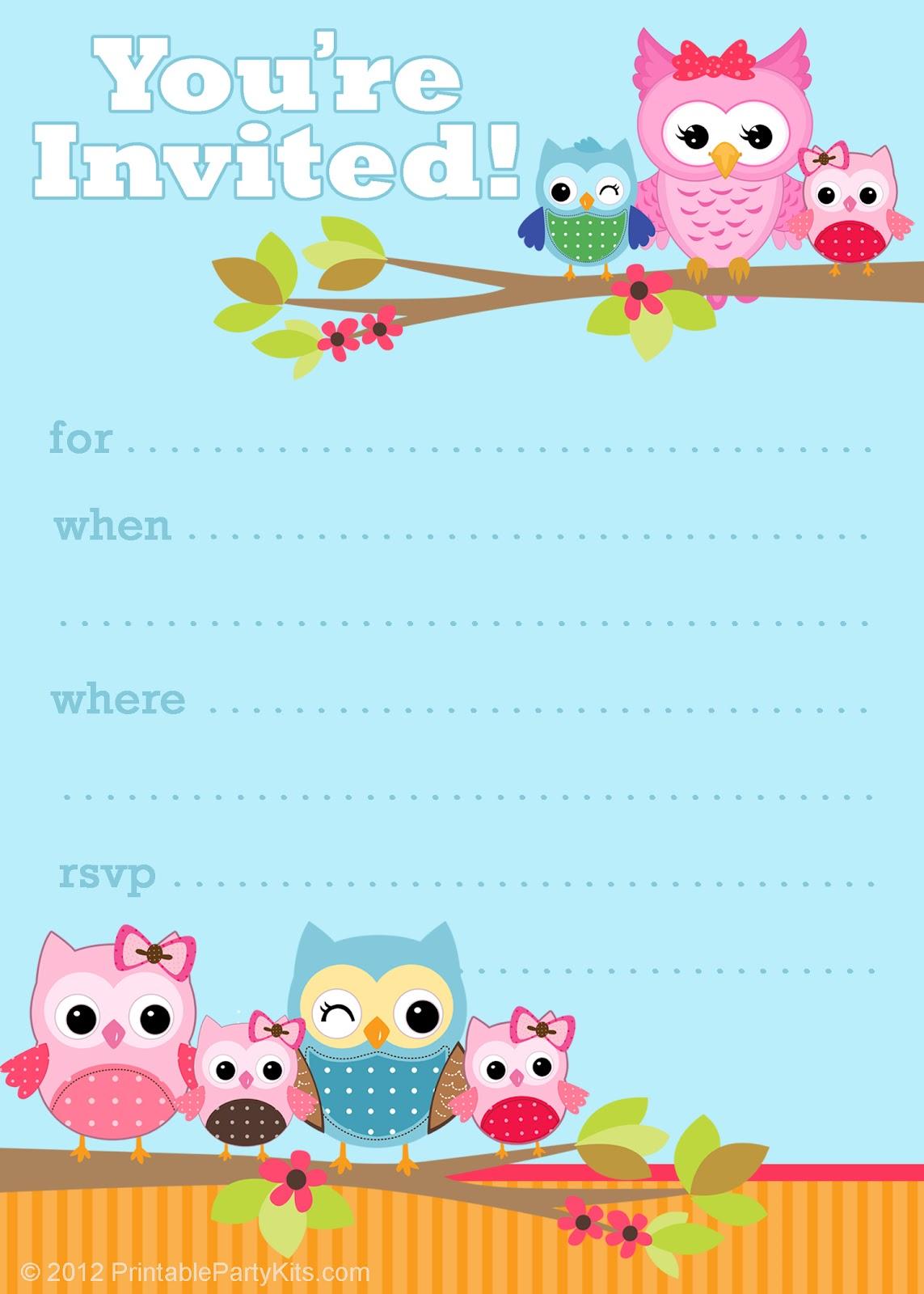 Free Printable Owl Birthday Party Invitations