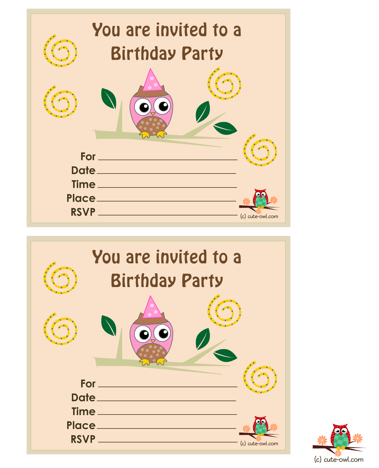 Free Printable Owl Birthday Party Invitations