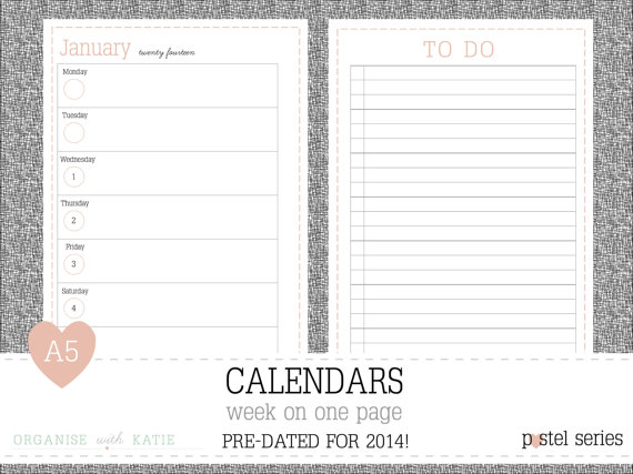 6 Images of 2014 A5 Printable Planner