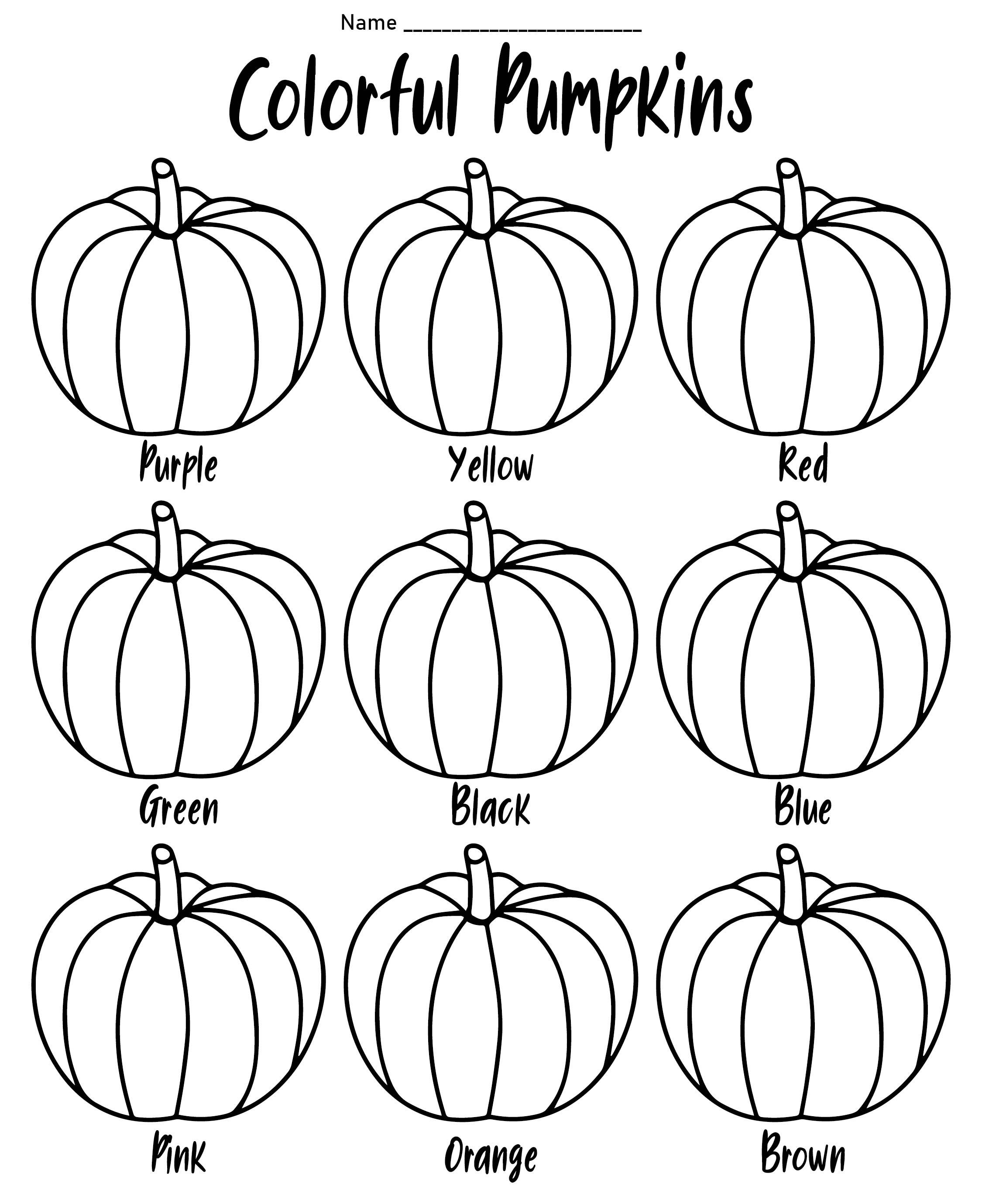 Halloween Color Words Worksheets Kindergarten