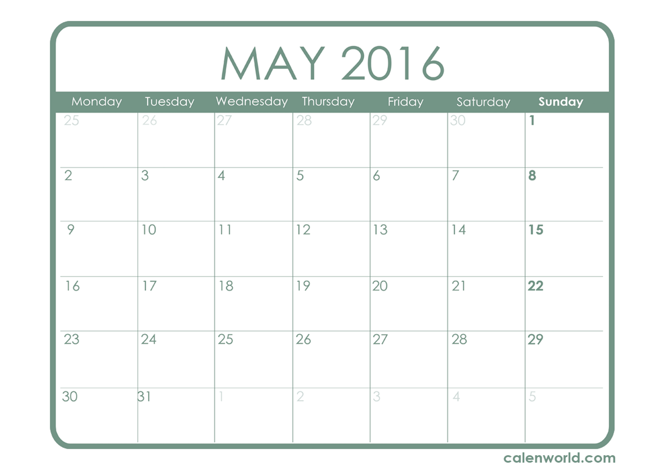 7 Images of Printable 2016 Monthly Calendar May