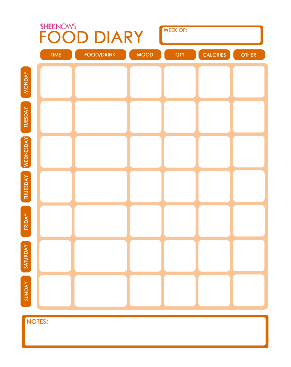 Journal Food Diary Template Printable