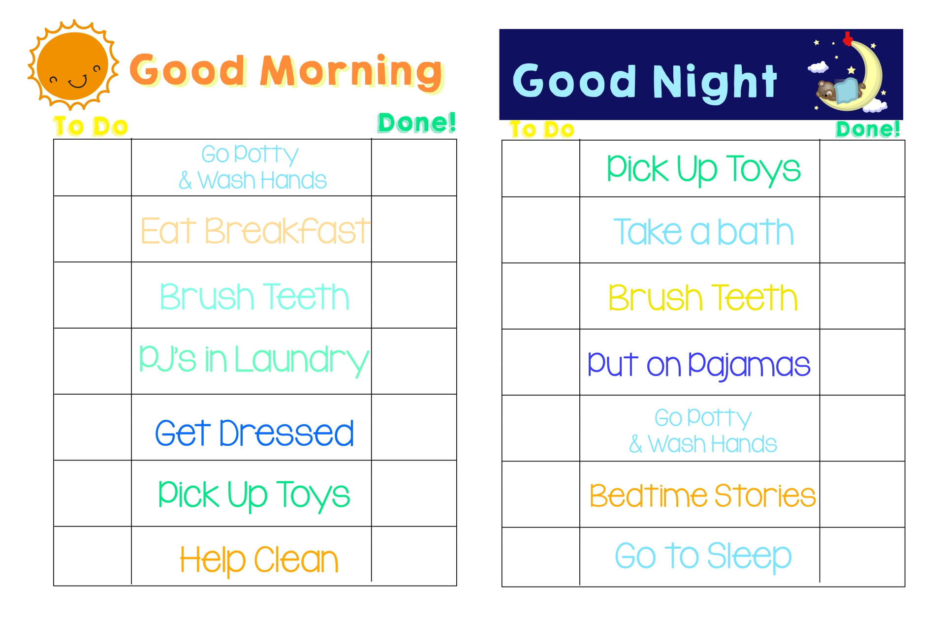 Kids Daily Routine Chart Printable