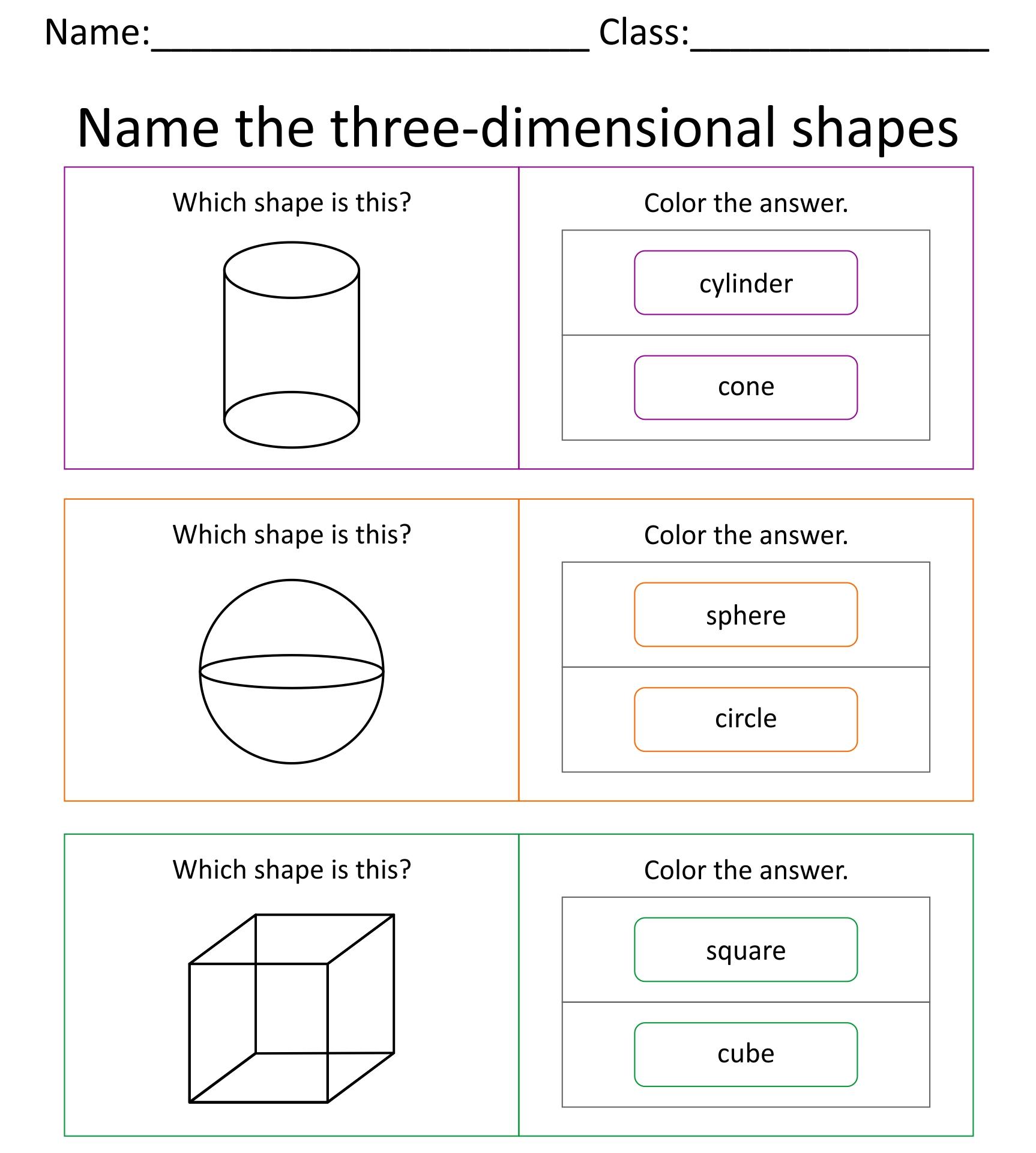 Kindergarten Worksheets 3D Shapes Printables