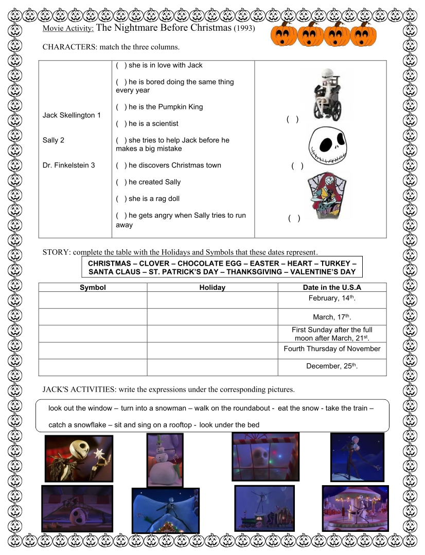Nightmare Before Christmas Worksheet