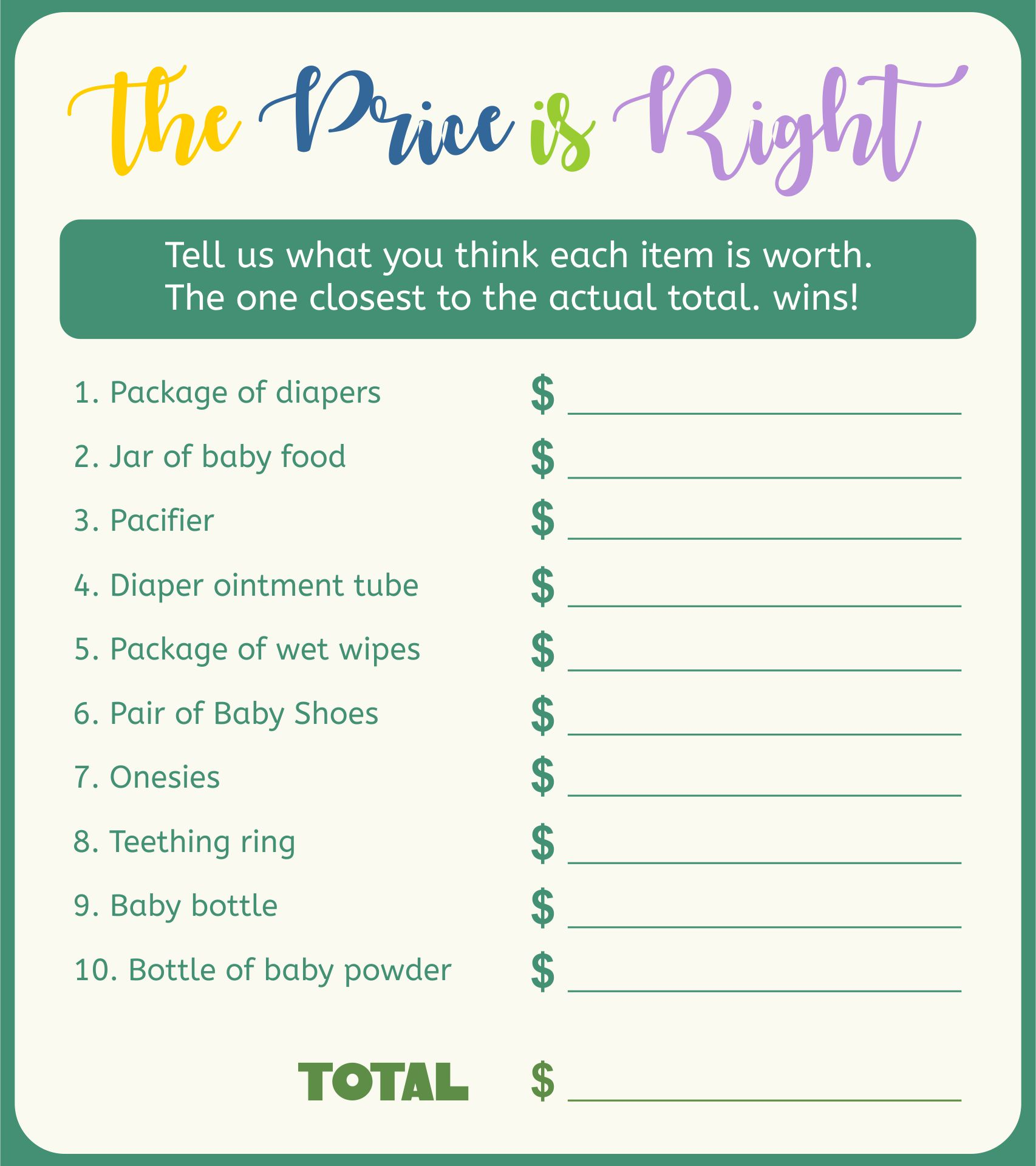 Price Is Right Baby Shower Game Template