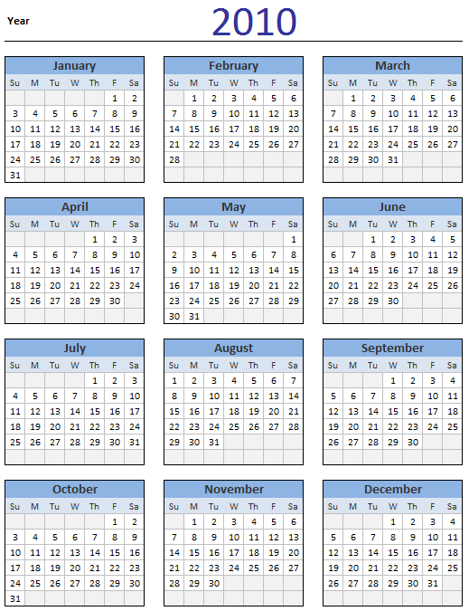 4 Images of 2010 Calendar Printable