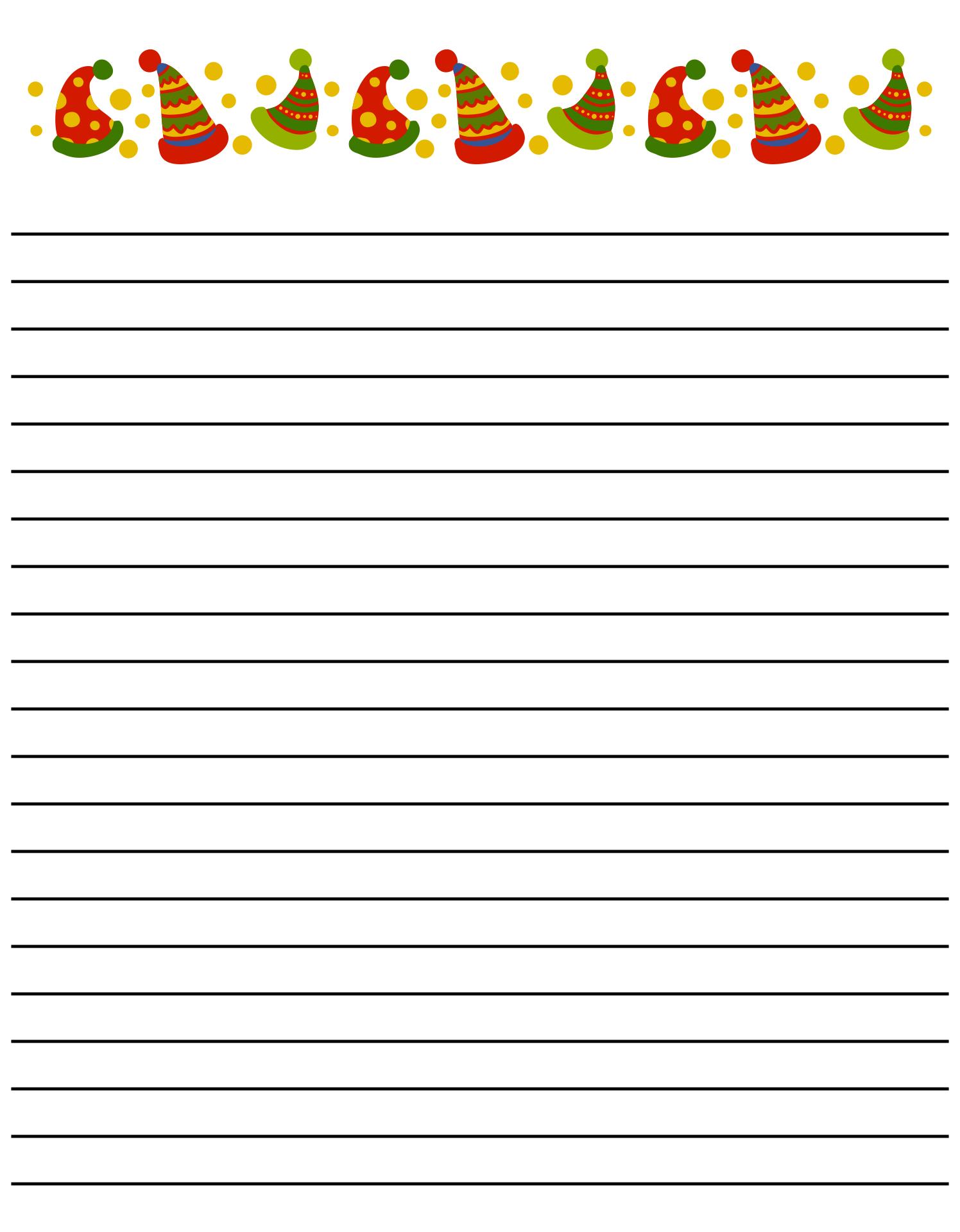 Printable Christmas Lined Writing Paper