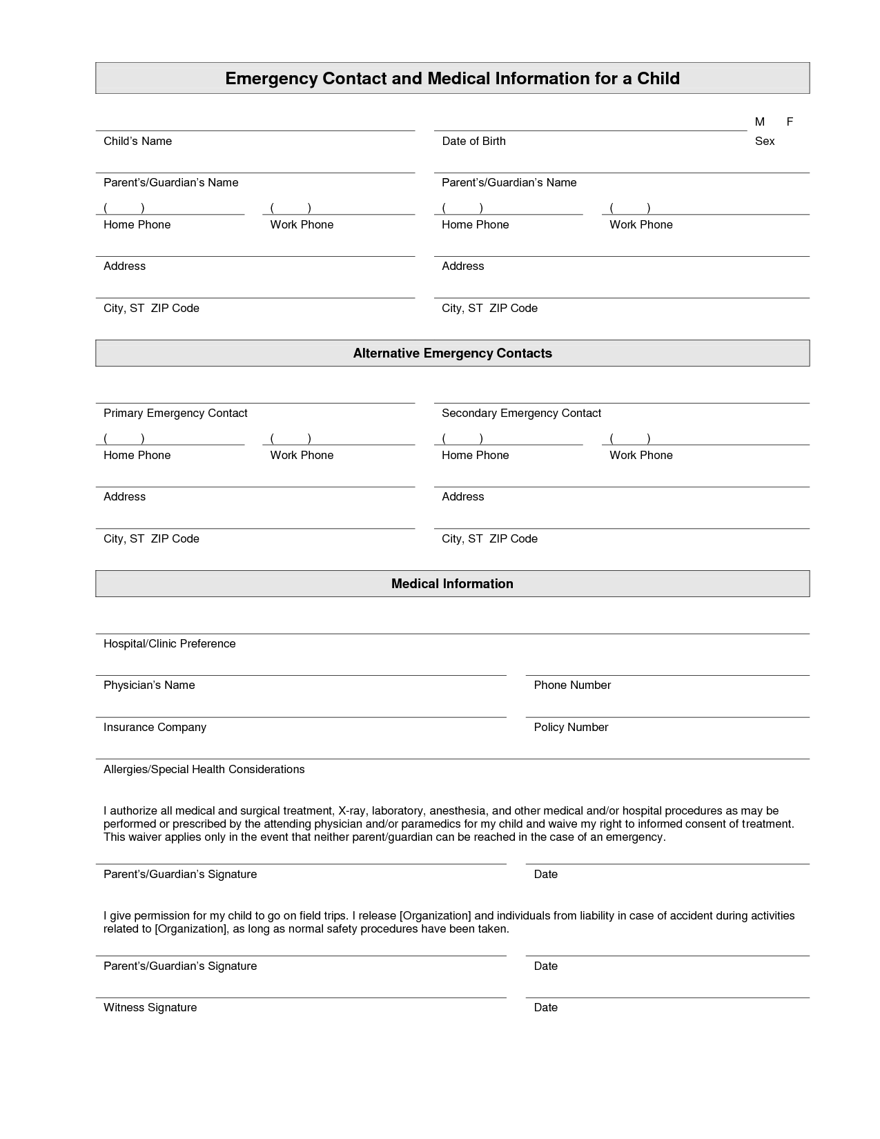 7 Images of Emergency Contact Printable Form