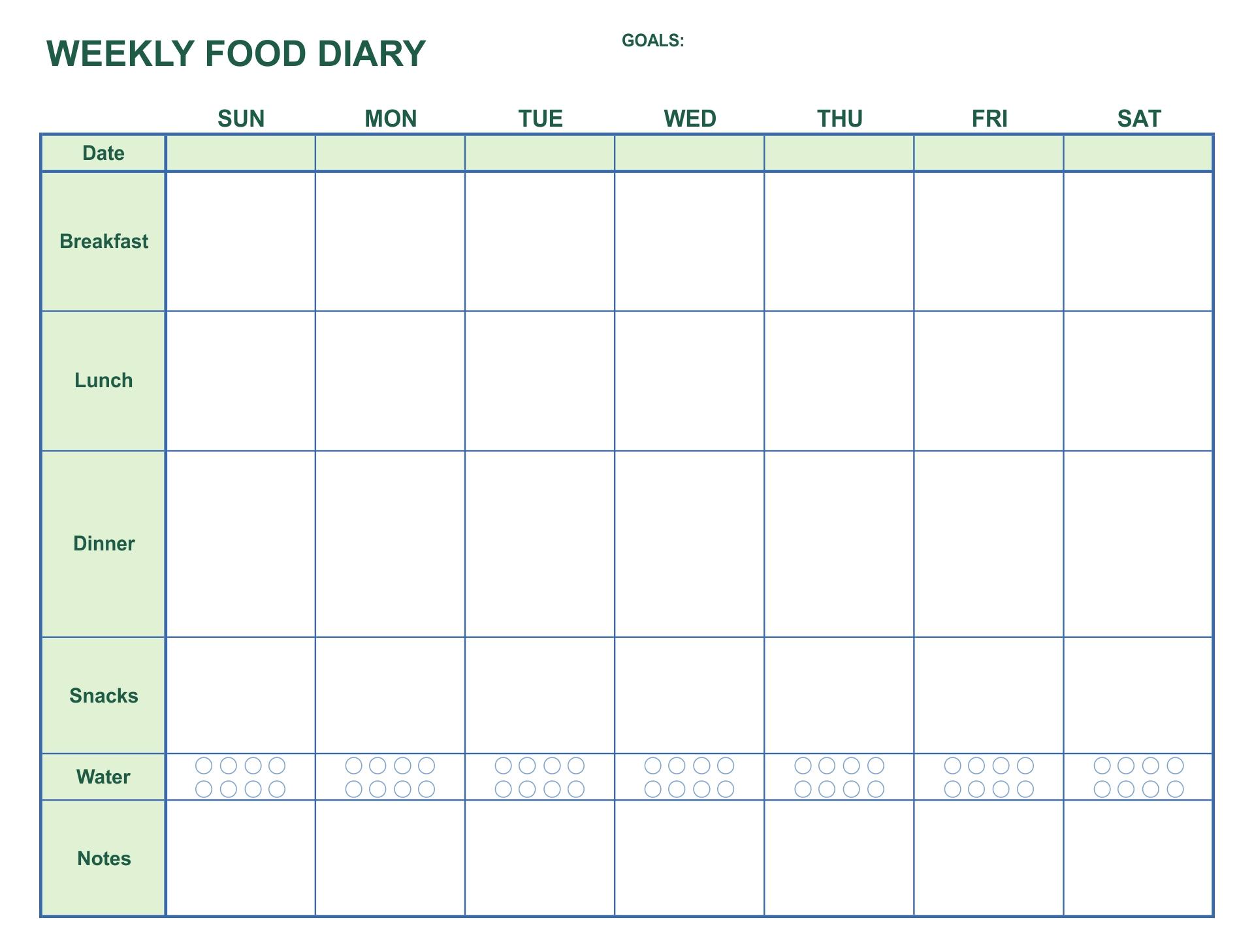 Printable Food Journal Weight Loss