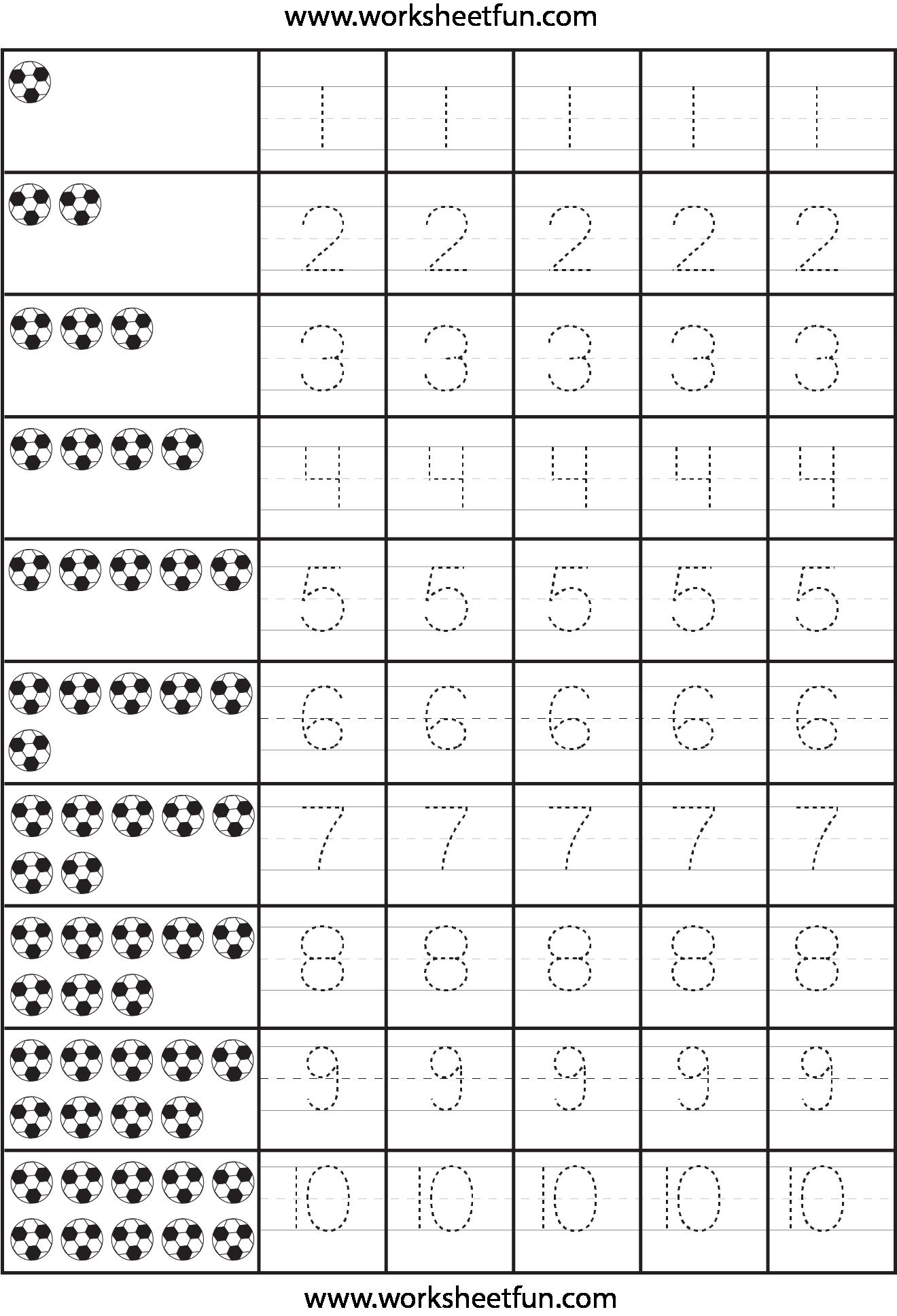 Number Printable Worksheets For Kindergarten