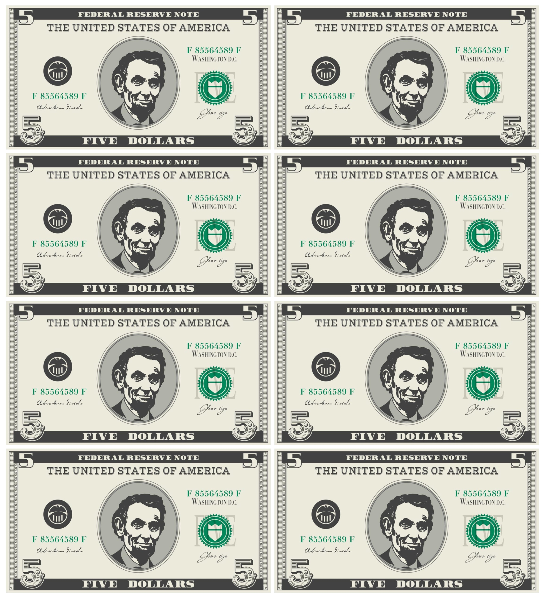 Fake Money To Print To Play With 9 best images of fake printable money ...