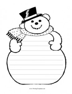 6 Images of Snowman Writing Template Printable