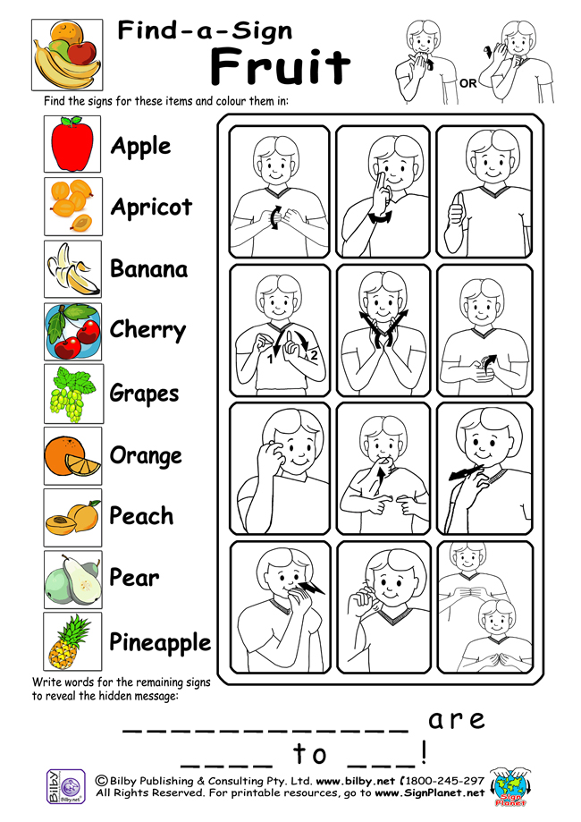 4 Images of Sign Language Words Printable Worksheets