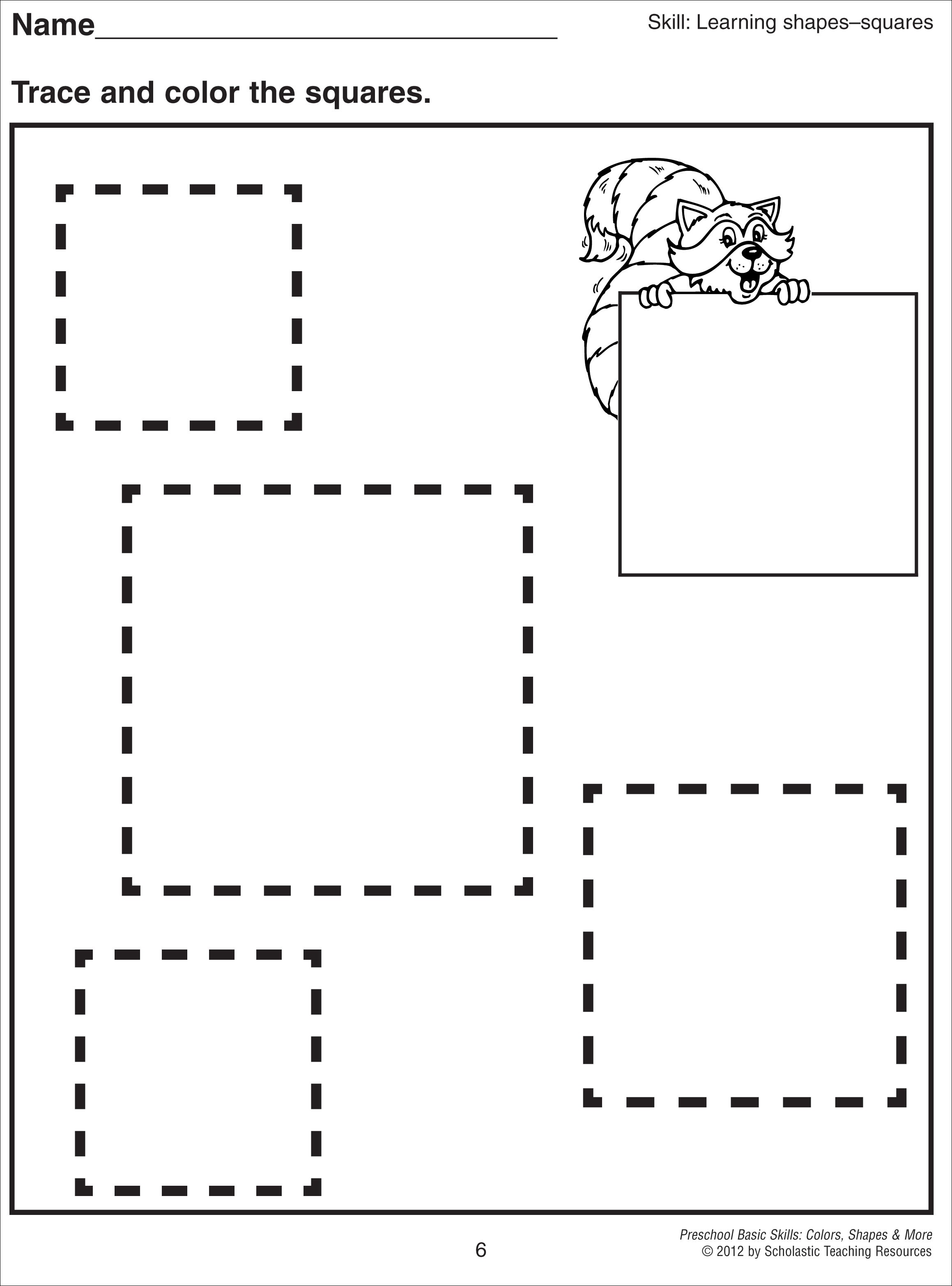 5 Images of Free Printable Preschool Worksheets Squares
