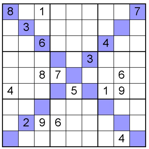 5 Images of Printable X Sudoku Puzzles