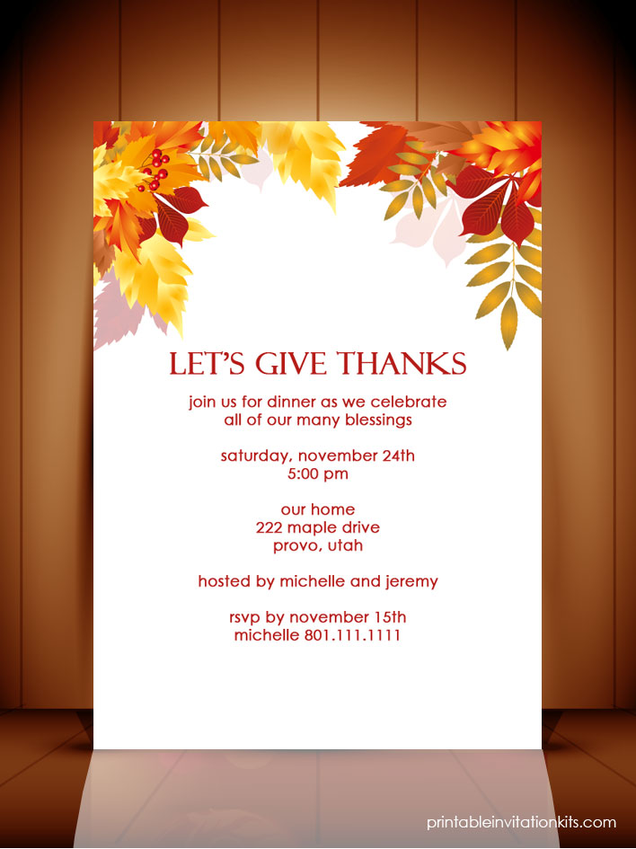 6 Images of Free Printable Thanksgiving Invitation Template