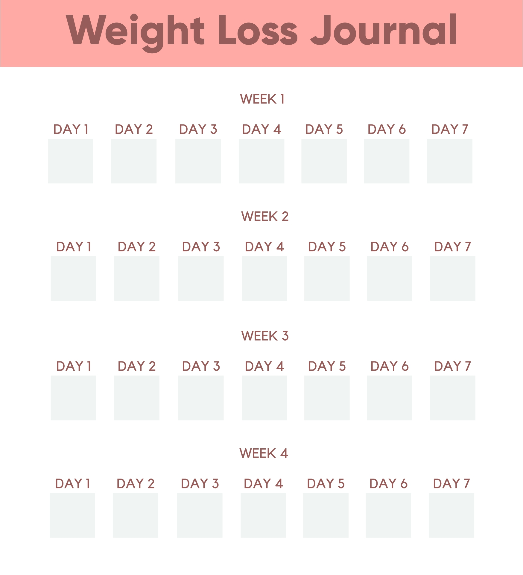 7 Images of Daily Weight Loss Journal Printable