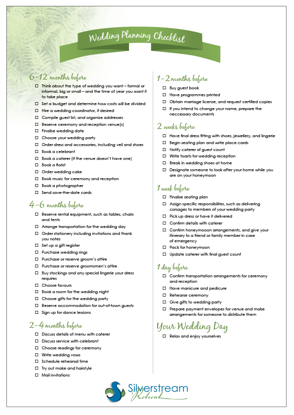 12 Month Wedding Checklist Printable
