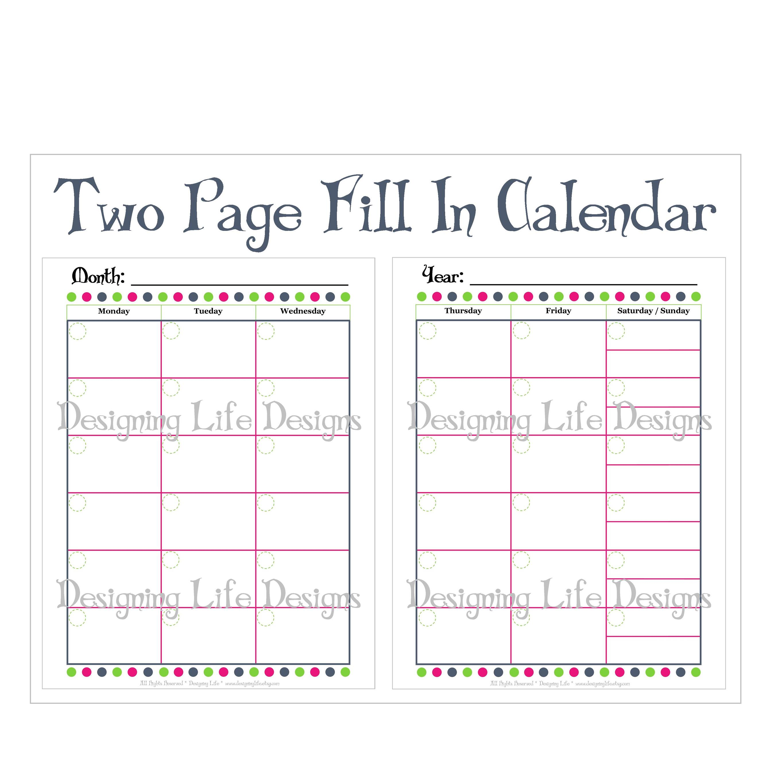 7 Images of Two-Page Monthly Calendar Printable